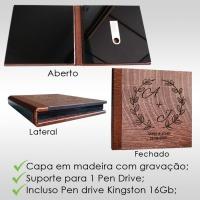 Mini case / Pen Drive em madeira com gravação